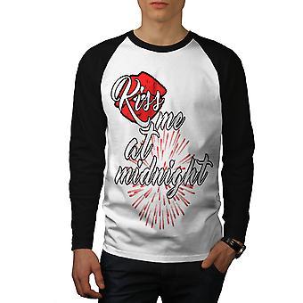 Kiss Me medianoche hombres nuevo blanco camiseta de (mangas negro) béisbol LS | Wellcoda