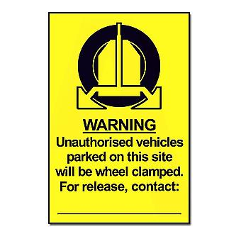 ASEC Highly Visible `Unauthorised Vehicles Will Be Clamped` Sign 200mm X 300mm