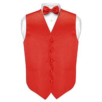 Men's Dress Vest & BOWTie Horizontal Stripe BOW Tie Woven Design Set