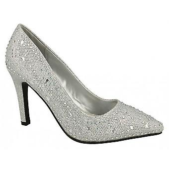 Ladies Womens New High Stiletto Heel Slip On Evening Diamante Courts Shoes