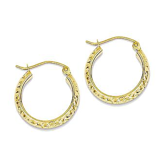 14k Yellow Gold Polished Hollow Hoop Earrings - 17mm