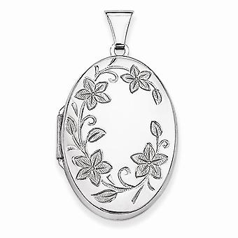 925 Sterling Silver Oval Flower Vine Accent Locket Charm - 40mm