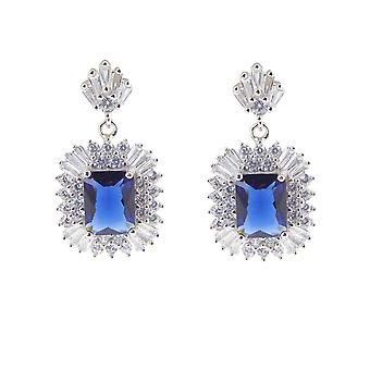 Silver cubic zirconia earrings with synthetic saffer