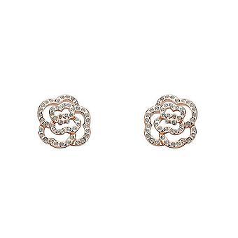 Womens Rose Gold Cubic Zirconia Stones Flower Earrings