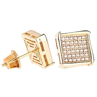 Iced Out Bling Micro Pave Ohrstecker - NOOK 10mm gold