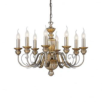 Ideal Lux Dora Antique 8 Arm Candle Light With Traditional Design Ceiling Chandelier
