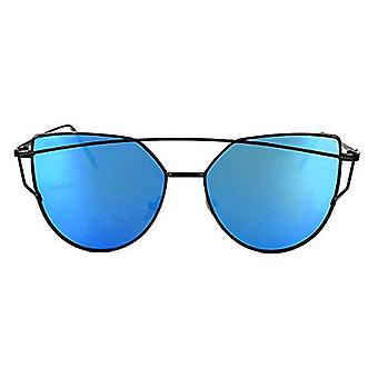RetroUV® Large Oversized Cat Eye Sunglasses Flat Mirrored Lens Metal Frame Women Fashion