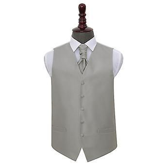 Argento massiccio controllo sposa gilet & Cravat Set