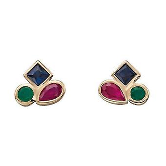 Elements Gold Emerald Ruby and Sapphire Stud Earrings - Gold/Blue/Red