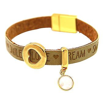 Gemshine Bracelet Heart Love WISHES Rose Quartz Brown Sand Magnetic Closure