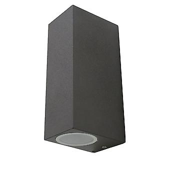 Wall lamp for indoor + outdoor, GU10, UpDown square dark grey, 10428
