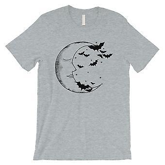 Moon And Bats Mens Grey T-Shirt
