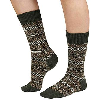 Figsbury women's Fairisle wool boot sock in forest | By Scott-Nichol