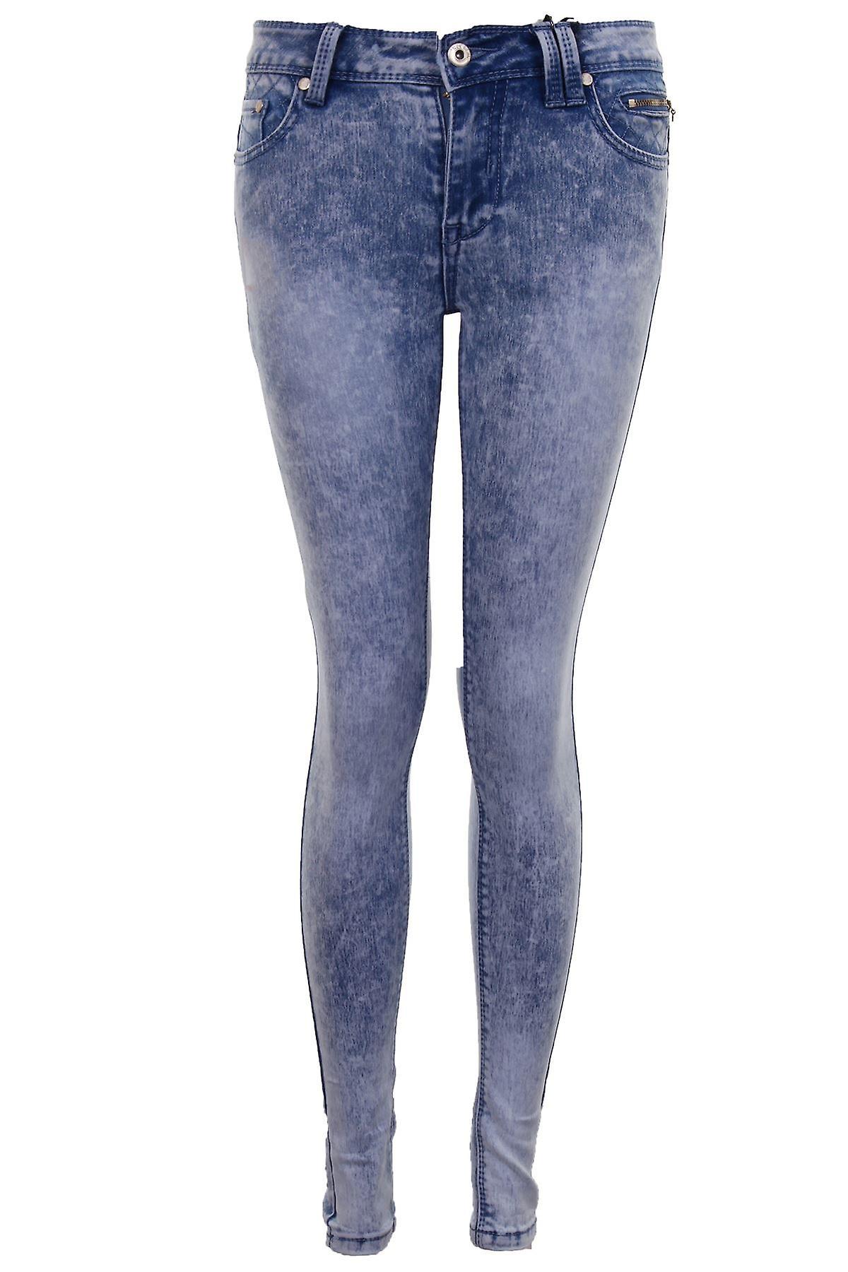 Ladies Bleached Faded Light Acid Wash Women's Denim Slim Skinny Fit Jeans
