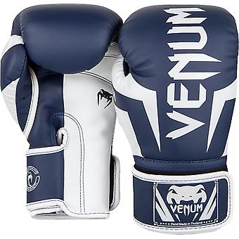 c40295af8 Venum Elite Skintex Leather Hook and Loop Training Boxing Gloves-White Navy  Blue