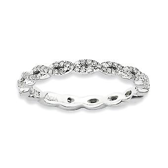 2,25 mm Sterling Silver stift uppsättning rodium-plated stapelbar uttryck polerad Diamond Ring - Ring storlek: 5 till 10