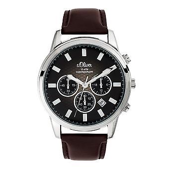 s.Oliver Herren Uhr Armbanduhr Chronograph Leder SO-3684-LC