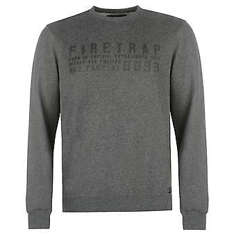 Firetrap Mens Graphic Sweater Jumper Pullover Long Sleeve Crew Neck Warm Print