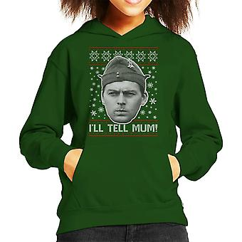 Dads Army Pike Tell Mum Christmas Knit Pattern Kid's Hooded Sweatshirt