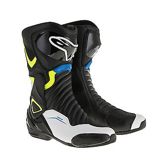 Alpinestars Black-White-Yellow Fluorescent-Blue SMX 6 V2 Motorcycle Boots