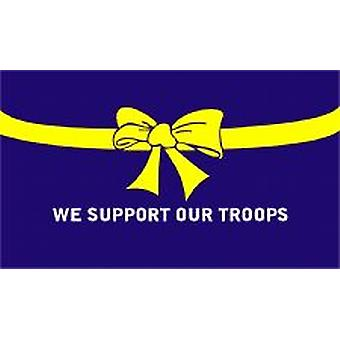 Support Our Troops Blue Flag 5ft x 3ft (100% Polyester) With Eyelets