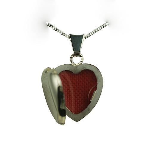 18ct White Gold 17x16mm plain heart Locket with a curb chain
