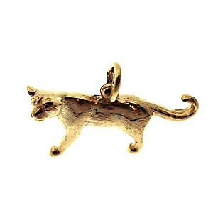 9ct Gold 20x30mm solid Mountain Lion Pendant or Charm