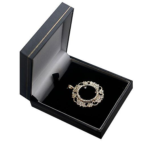 9ct Gold 34mm Full Sovereign mount with a diamond cut Bezel Pendant