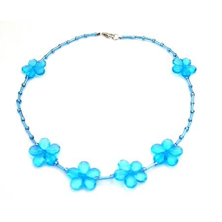 Blue Flowers Beads Necklace Pipe Necklace Beautiful Affordable Price