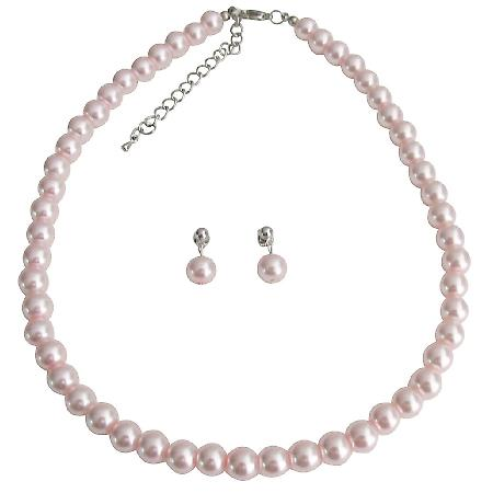Pink Pearl Wedding Necklace with Surgical Post Earrings