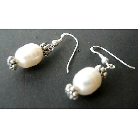 Sterling Silver White Freshwater Pearls & Bali Silver Earrings