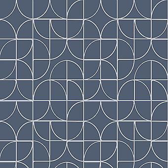 Rasch meetkundige krommen blauw zilver Metallic Glitter textuur Vinyl behang
