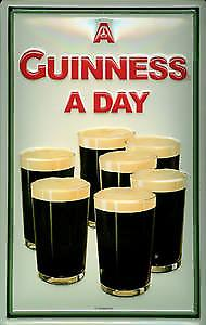 Guinness 7 Pint Glasses embossed steel sign   (hi 3020)