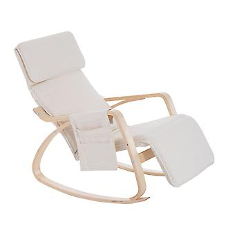 HOMCOM Wooden Rocker Rocking Lounge Chair Recliner Relaxation Lounging Relaxing Seat with Adjustable Footrest & Side Pocket & Cushion (Beige)