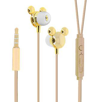 Disney słuchawki Mickey Mouse douszne zestaw głośnomówiący silikonowy złoty