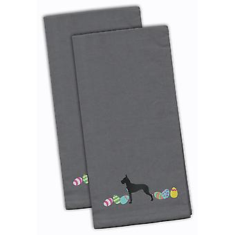 Great Dane Easter Gray Embroidered Kitchen Towel Set of 2