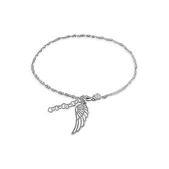 Eternity Sterling Silver Anklet With Angel Wing