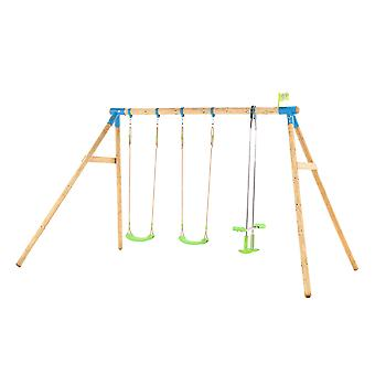 TP Toys Woburn Wooden Triple Swing Set With 2 Swings 1 Glide Ride Swing