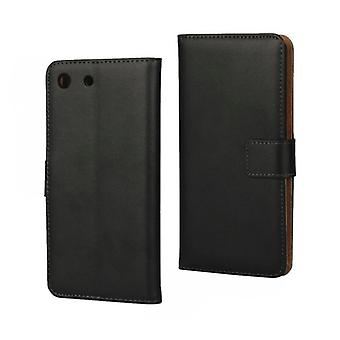 Wallet Case Sony Xperia M5, genuine leather, black