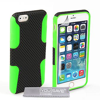 YouSave iPhone 6 and 6s Tough Mesh Combo Silicone Case - Green-Black