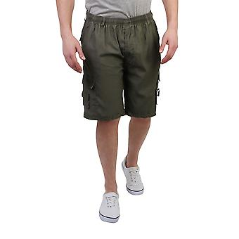 KRISP  Mens Check Knee Long Summer Shorts Elasticated Bermuda Beach Cropped Cargo Pants