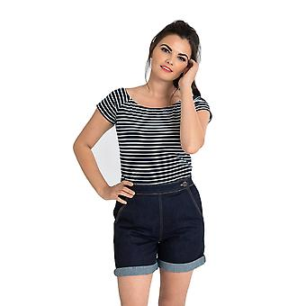 Hell Bunny Navy & White Verity Top XS