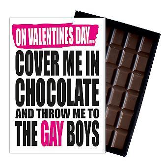 Funny alla hjärtans dag gåva en oförskämd hbt närvarande för homosexuella män 85G choklad kort IYF129