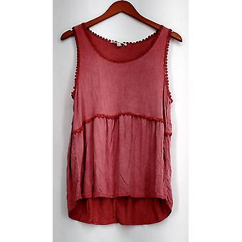 Indigo Thread Co. Top Pigment Dyed High-Low Tiered Tank Red Womens A432445