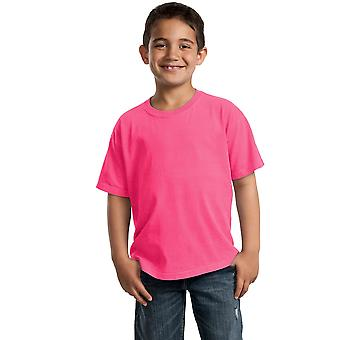 Port & selskapet ungdom topper pigment-farget kort ermet tee PC099Y Neon Pink