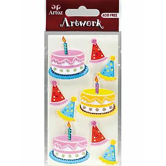 Birthday Cake & Party Hat Card Embellishments By Artoz