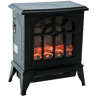 HOMCOM Freestanding Electric Fireplace Heater Stove Realistic Charcoal w/ LED Flame Effect 900W/1800W Black