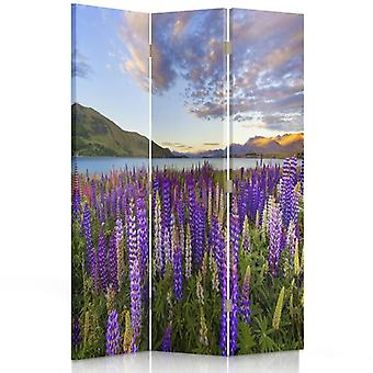 Room Divider, 3 Panels, Double-Sided, 360 ° Rotatable, Canvas, A Lavender Field