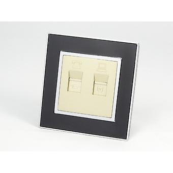 I LumoS AS Luxury Black Mirror Glass  Single Telephone + Internet Socket