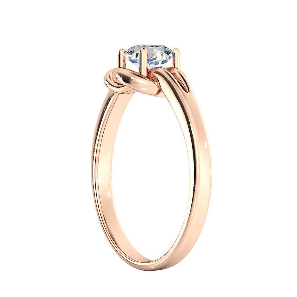 1.1 Carat D SI2 Diamond Engagement Ring 14K Rose Gold Solitaire Knot Round